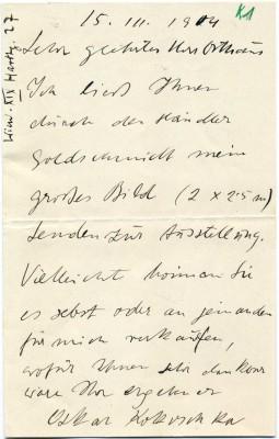 Brief von Oskar Kokoschka aus Wien an Karl Ernst Osthaus, mit dem Angebot eines Bildes, 15. März 1904 © Osthaus Museum Hagen