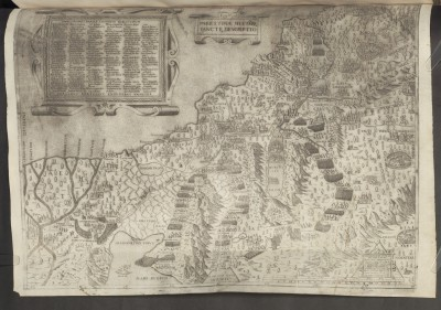 Ferdinando Bertelli / Mario Cartaro, Palestinae Sive Terrae Sanctae Descriptio, Venedig, 1563, Kupferstich auf Papier, 50 x 37 cm; © Bayerische Staatsbibliothek