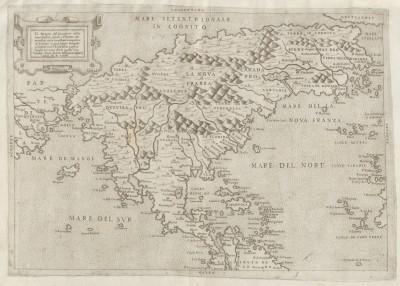 Paolo Forlani / Bolognino Zaltieri, Il Disegno del discoperto della nuova Franza, Venedig 1566, Kupferstich auf Papier, 41 x 28 cm; © Bayerische Staatsbibliothek