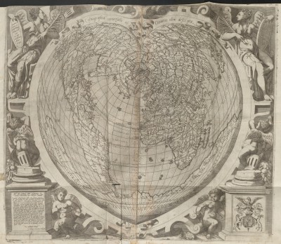 Paolo Giovanni Cimerlini, Cosmographia universalis ab Orontio olim descripta, 1566, Kupferstich auf Papier, 59 x 52 cm; © Bayerische Staatsbibliothek