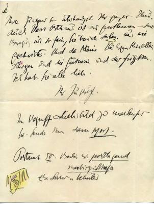 Letzte Seite eines Briefes der Dichterin Else Lasker-Schüler aus Berlin an Gertrud Osthaus, mit einem gezeichneten Selbstbildnis als Prinz Jussuf, Juli 1916 © Osthaus Museum Hagen