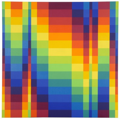 Richard Paul Lohse, Fünfzehn systematische Farbreihen in progressiven Horizontalgruppen, 1950/62 Öl, Leinwand, 150x150 cm