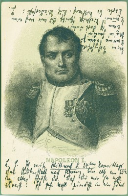 Postkarte von Thomas Mann an Heinrich Mann mit Napoleon-Porträt © die LÜBECKER MUSEEN / Buddenbrookhaus