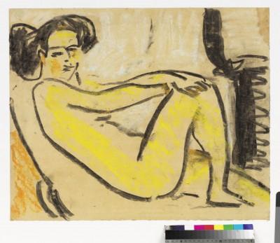 Ernst Ludwig Kirchner, Liegendes Mädchen am Ofen, 1908/09, 48,5 × 59,5 cm © Brücke-Museum