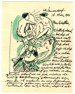 Max Pechstein, Illustrierter Brief vom 18. März 1914 aus Berlin an Alexander Gerbid, Suhl; Kunstsammlungen Zwickau © 2014: Pechstein - Hamburg/Tökendorf