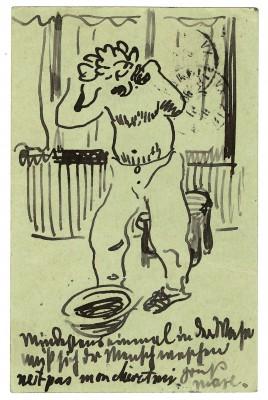 Max Pechstein, Postkarte vom 15.2.1908 aus Paris an Alexander Gerbig, Dresden © 2014: Pechstein - Hamburg/Tökendorf
