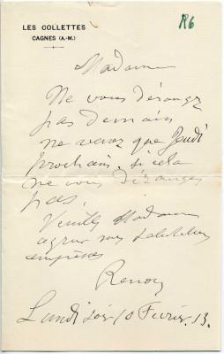 Brief von Auguste Renoir an Gertrud Osthaus, bzgl. der Terminfindung für einen Besuch, 10. Februar 1913 © Osthaus Museum Hagen