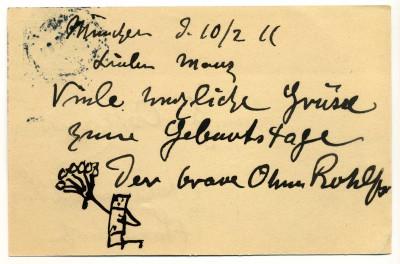 Postkarte des Malers Christian Rohlfs aus München, mit Geburtstagsglückwünschen für Gertrud Osthaus, 10. Februar 1911 © Osthaus Museum Hagen