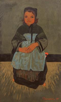 Paul Sérusier, Bretonisches Mädchen, Marie Francisaille, 1896, Öl auf Leinwand, 90 x 54 cm Foto: Kunsthalle Bremen – Der Kunstverein in Bremen