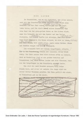 Erwin Strittmatter: Der Laden, [Band 1], erste Seite des Roman-Typoskripts mit eigenhändigen Korrekturen, Februar 1980 © Foto AdK, Erwin-Strittmatter-Archiv
