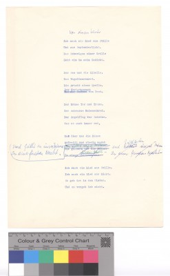 Eva Strittmatter: Vor einem Winter, Typoskript-Fassung mit eigenhändigen Korrekturen, ohne Datum © Foto AdK, Eva-Strittmatter-Archiv