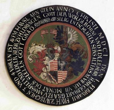 Totenschild des Grafen Gebhard VIII. von Mansfeld-Arnstein, 1601 Schlosskirche St. Georg und Marien, Mansfeld