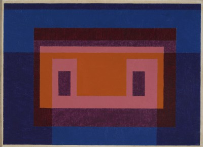 Josef Albers, Variant / Adobe, 4 Central Warm Colors Surrounded by 2 Blues, 1948, 63,5 x 88,9 cm; Josef Albers Museum Quadrat Bottrop © The Josef and Anni Albers Foundation, VG Bild-Kunst, Bonn 2013