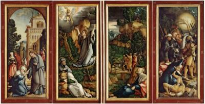Meister von Meßkirch, Wildensteiner Altar im geschlossenen Zustand, 1536, Standflügel je 72 x 30 cm, Drehflügel je 68 x 28 cm © Staatsgalerie Stuttgart