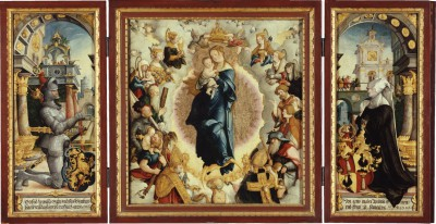 Meister von Meßkirch, Wildensteiner Altar im geöffneten Zustand, 1536, Mitteltafel 64 x 60 cm, Drehflügel je 68 x 28 cm