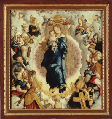 Meister von Meßkirch, Wildensteiner Altar im geöffneten Zustand, 1536, Mitteltafel 64 x 60 cm, Drehflügel je 68 x 28 cm (Detail)