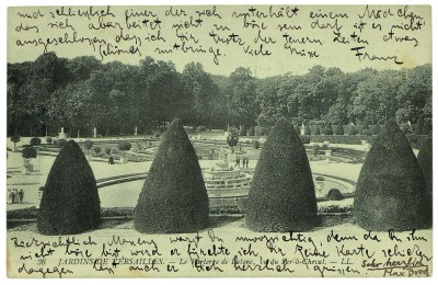 Bildpostkarte von Franz Kafka an seine Schwester Ottla aus Paris vom 13.9.1911 mit einem Gruß von Max Brod