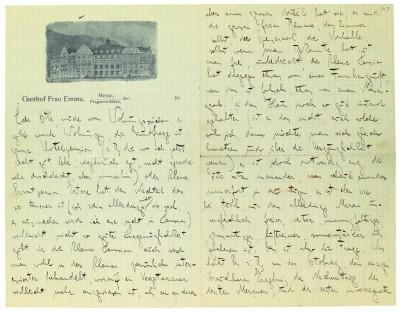Brief Kafkas an Ottla vom 5.4.1920 aus Meran mit Briefkopf
