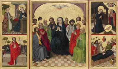 Heilig-Geist-Retabel (geöffnet): Pfingsten - die Muttergottes inmitten der Apostel -, auf den Seiten flankiert von den Szenen der Verkündigung, der Geburt Christi, der Auferstehung Christi und dem Marientod