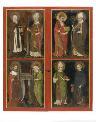 Heilig-Geist-Retabel (geschlossen): die Heiligen Antonius Eremita und Bischof Erhard von Regensburg, Papst Sixtus II. und Bischof Servatius von Tongeren, Kaiser Heinrich II. und Kaiserin Kunigunde, Bischof Nikolaus von Myra und Leonhard
