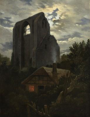 Carl Gustav Carus, Ruine Eldena mit Hütte im Mondschein, 1819/20