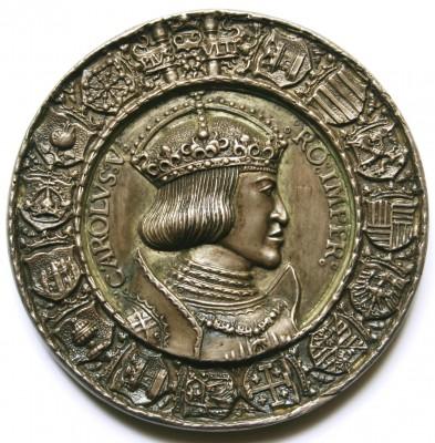 Hans Krafft nach Entwurf Albrecht Dürers, Kaiser Karl V. (1519-1556) Dedikationsmedaille der Stadt Nürnberg, 1521, Prägung auf vorgegossenem Rohling, Silber, 71 mm