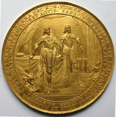 Sebastian Dadler, Prunkmedaille Kurfürst Georg Wilhelm von Brandenburg mit seinem Sohn, dem späteren Großen Kurfürsten, auf den Waffenstillstand in Preußen, 1639, Prägung, Gold, 72 mm