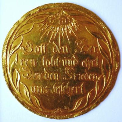 Sachsen-Gotha, Ernst I. der Fromme (1640-1675), Abschlag vom Friedenstaler 1650 zu 10 Dukaten, Prägung, Gold, 46 mm