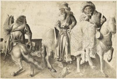 Süddeutsch (Bayern oder Nürnberg ?), um 1440, Drei Reiter Feder in Grau, teilweise aquarelliert und grau laviert, 17,6 x 26,3 cm © Stiftung Preußischer Kulturbesitz