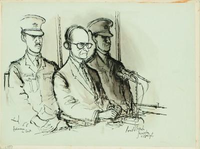 Ronald Searle, Adolf Eichmann, 1961, aus: Skizzenbuch zum Adolf–Eichmann–Prozess in Jerusalem Deutsches Museum für Karikatur und Zeichenkunst - Wilhelm Busch