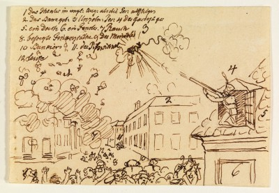 Zeichnung von E.T.A. Hoffmann Brand des Berliner Schauspielhauses, Berlin, 25. November 1817