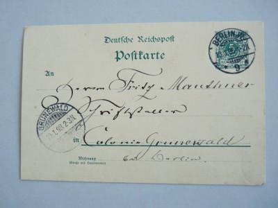 Postkarte von Theodor Fontane an Fritz Mauthner Rechtevermerk: TFA, Delf von Wolzogen