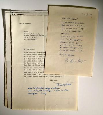 Briefwechsel von Theodor Heuss mit dem Rainer Wunderlich Verlag und der DVA, 1950er Jahre. © DLA Marbach
