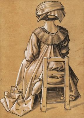 """Hans Holbein der Ältere und Werkstatt, Sitzende Frau von hinten gesehen """" Hl. Thekla"""" Studie einer zentralen Figur in der Basilikatafel, St. Paul (1503/04) in Augsburg, Feder in Braun, weiß gehöht auf rötlich getöntem Papier, 19,2 x 13,8 cm © Stiftung Preußischer Kulturbesitz"""