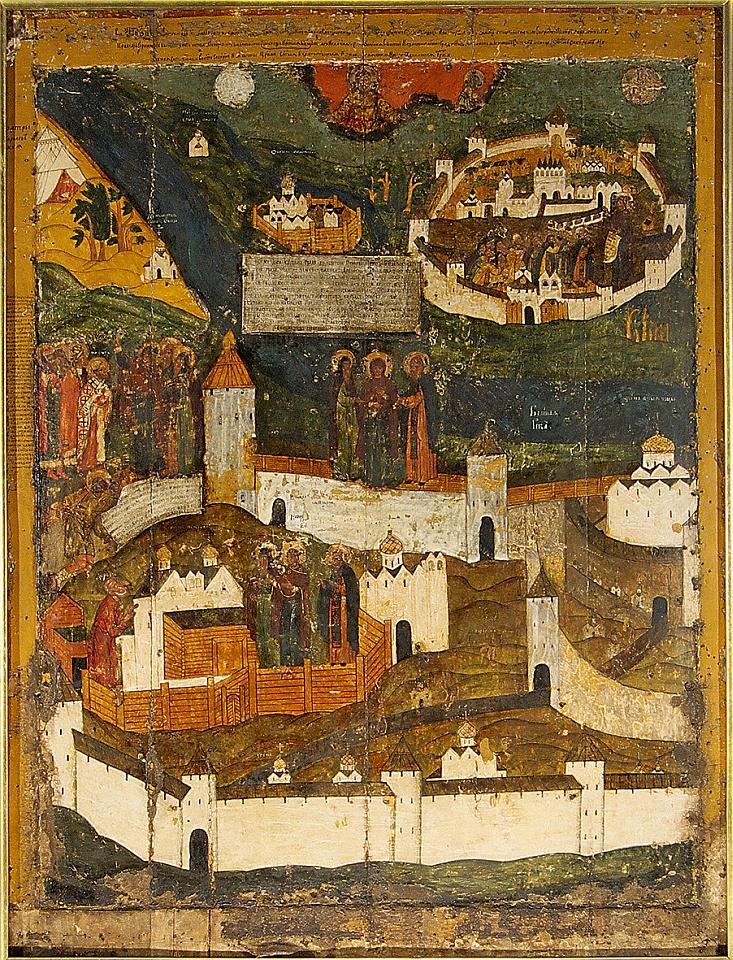 Mariä-Schutz-Ikone, um die Wende des 16. zum 17. Jahrhundert; Dreifaltigkeitskathedrale, Pskow