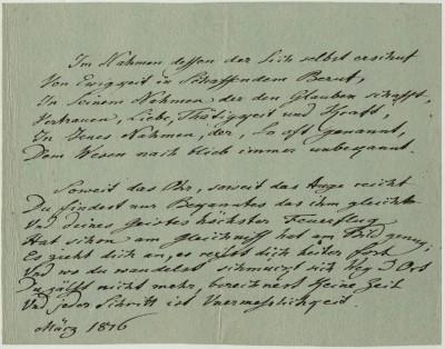 """Eigenhändige Gedichthandschrift """"Im Namen dessen der sich selbst erschuf..."""" Johann Wolfgang von Goethe, März 1816"""