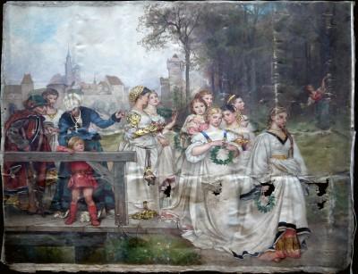 """Rudolf Henneberg, Allegorischer Brautzug, 1872, ca. 204×220 cm; wie auch die beiden anderen hier abgebildeten Gemälde derzeit als Leihgabe im Centrum Judaicum für die im November 2012 geplante Ausstellung """"Moses Mendelssohn: Freunde, Feinde und – Familie"""""""