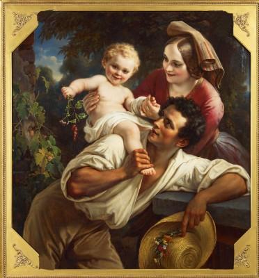 Carl Joseph Begas d.Ä., Die Winzerfamilie, 1850, 118×110 cm; Begas Haus – Museum für Kunst und Regionalgeschichte Heinsberg