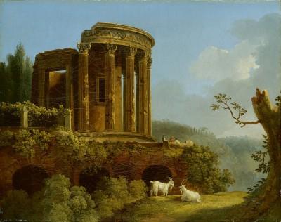 Jakob Philipp Hackert, Tempel der Sibylle bei Tivoli, 1770er Jahre, 45×56 cm; Gemäldegalerie Alte Meister, Dresden