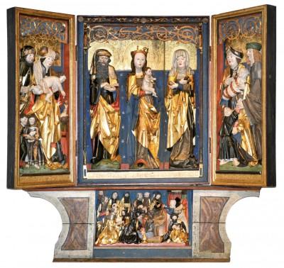 Unbekannter Meister, Flügelaltar der Heiligen Sippe, 1516, Figuren aus Lindenholz, Rahmen aus Fichtenholz, farbig gefasst und vergoldet, aus der Kirche zu Lugau, Erzgebirgskreis; Kunstsammlungen Zwickau