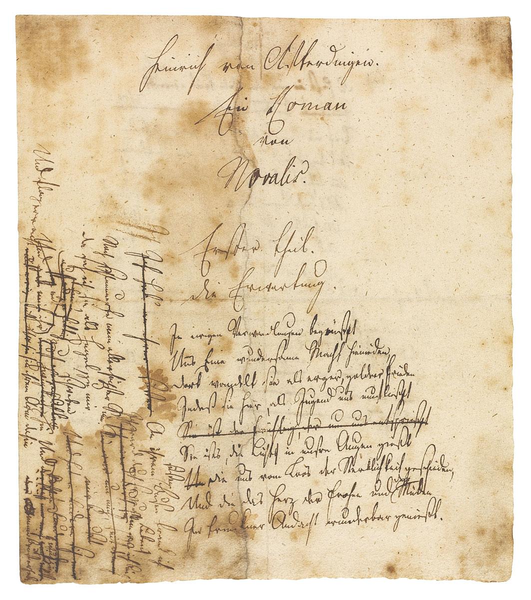 """Wiederentdeckter Entwurf zum Romananfang """"Heinrich von Afterdingen"""" von Novalis; Frankfurter Goethe-Haus/Freies Deutsches Hochstift, Frankfurt am Main"""
