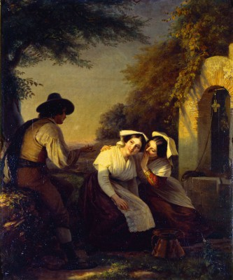 Oscar Begas, Plauderstunde am Brunnen, 1853, 75 × 61,5 cm; Alte Nationalgalerie, Berlin
