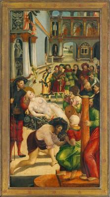 Jörg Greimolt, Tafelbilder Martyrium der Hl. Agatha von Catania, in zeitlicher Abfolge der Agathengeschichte: Brustabnahme, Kerker, Verbrennung, Grablegung, 1523, je 109×57 cm