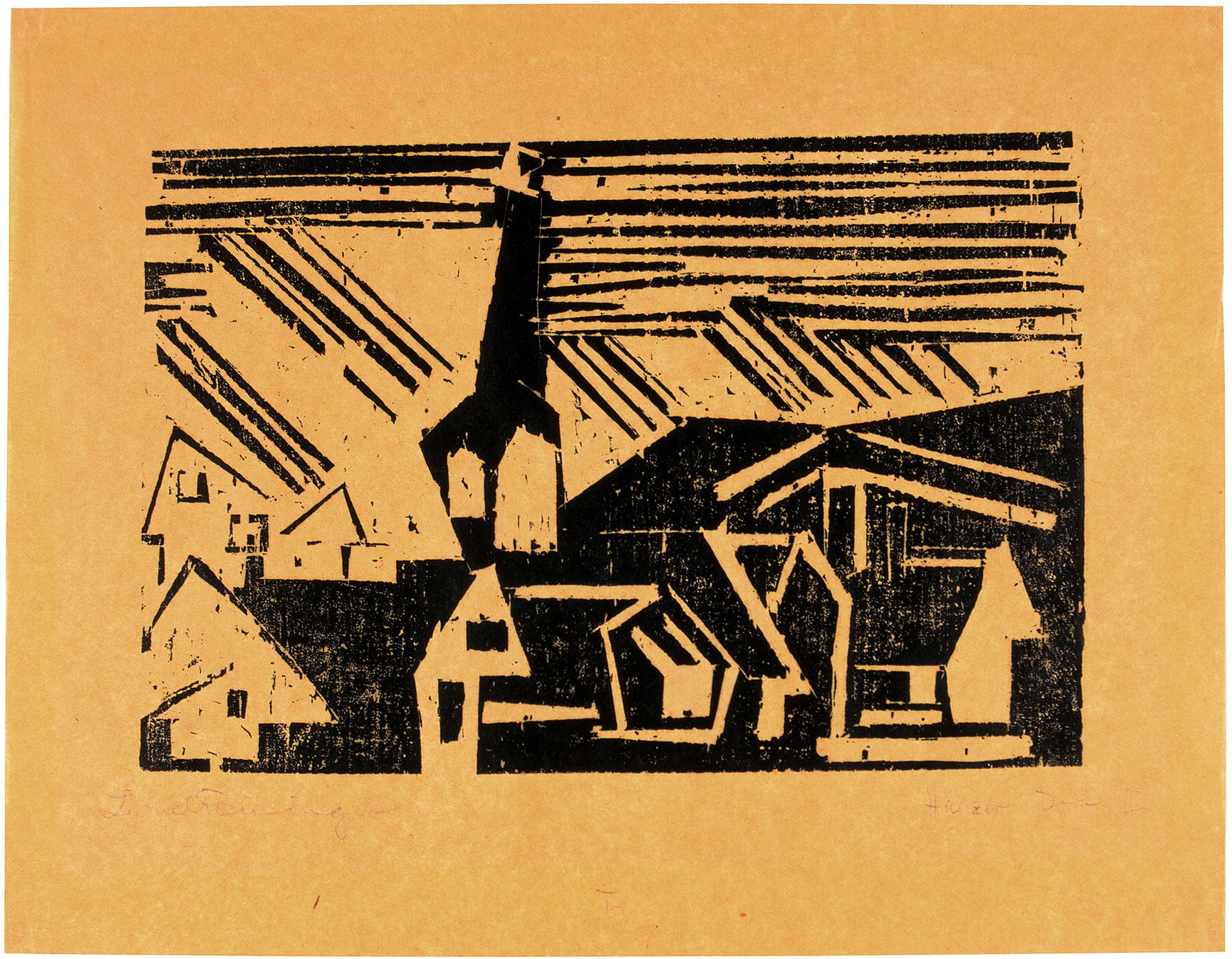Lyonel Feininger, Harzer Dorf II, 1918, 25,4×32,2 cm; Kunstsammlungen Chemnitz