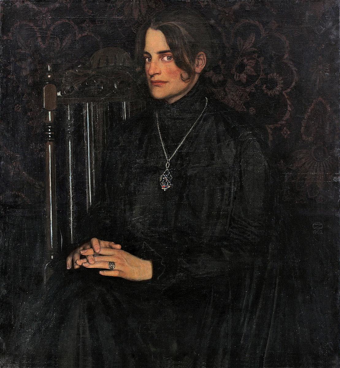 Oskar Zwintscher, Clara Rilke Westhoff,1902,102×93 cm; Privatbesitz