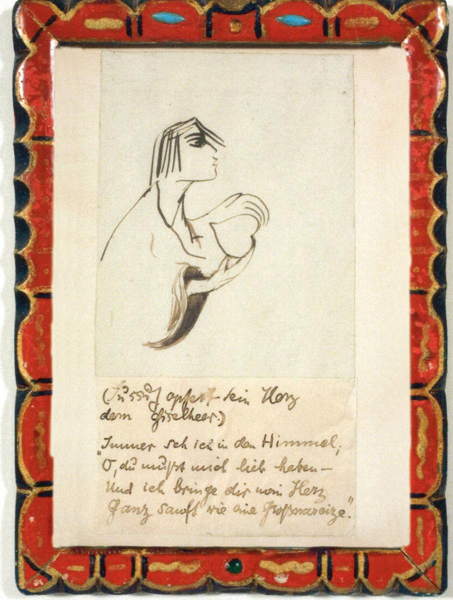 """Else Lasker-Schüler, Originalzeichnung zur Illustration des Prosabuchs """"Der Prinz von Theben"""", 1913; Kunstmuseum Solingen/Zentrum für verfolgte Künste"""