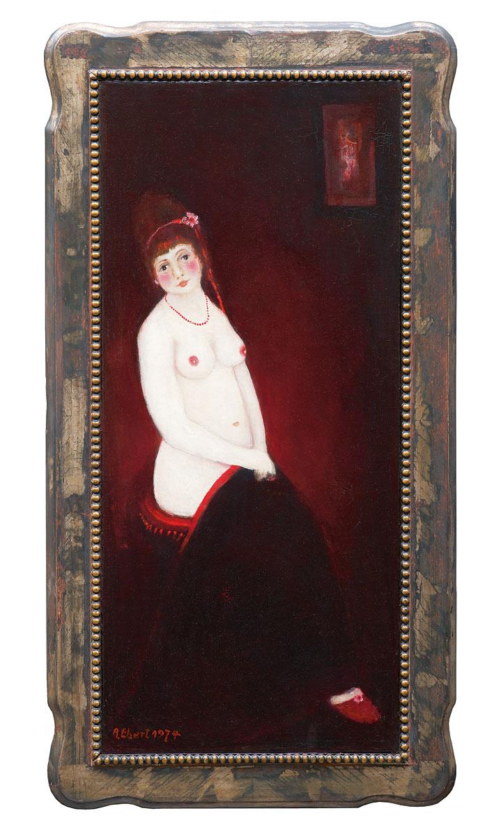 Albert Ebert, Akt auf rotem Hocker, 1974, 90×48 cm; Privatbesitz, Stiftung Moritzburg, Halle