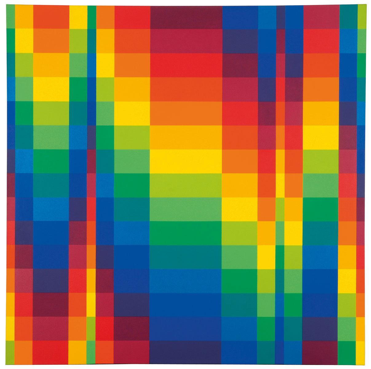 Richard Paul Lohse, Fünfzehn systematische Farbreihen in progressiven Horizontalgruppen, 1950/62, 150×150 cm, Museum für Konkrete Kunst, Ingolstadt