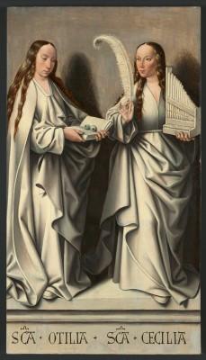 Meister von Frankfurt, Die Heiligen Odilia und Cäcilie (Grisailletafel des Annenaltars), um 1504; Historisches Museum Frankfurt, Frankfurt am Main