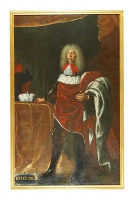 Unbekannter Künstler, Bildnis des sächsischen Kurfürsten Johann Georg III. (1647–1691), um 1710, 225×139 cm, Museum Schloss Neu-Augustusburg, Weißenfels